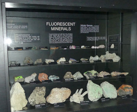 Floresent mineral display regular light at Joplin's Mineral and History Museum