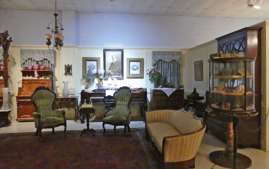 Antique living room furnished at Joplin's Mineral and History Museum