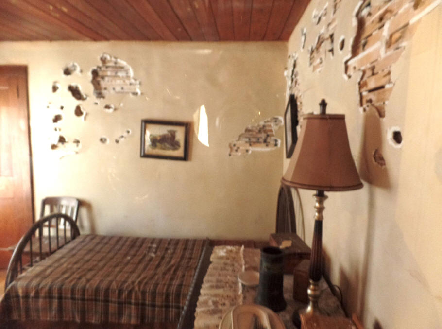 Bedroom with bullet holes in Little Bohemia where John Dillinger stayed
