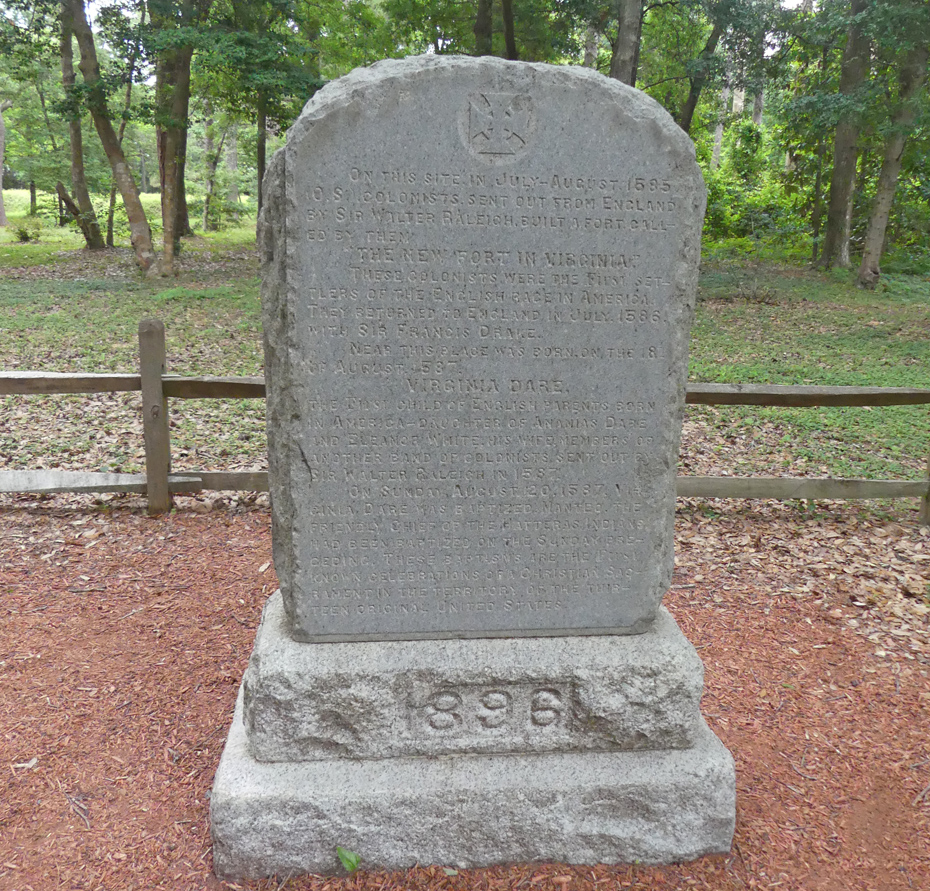large stone marker commemorating baprism of Virginia Dare
