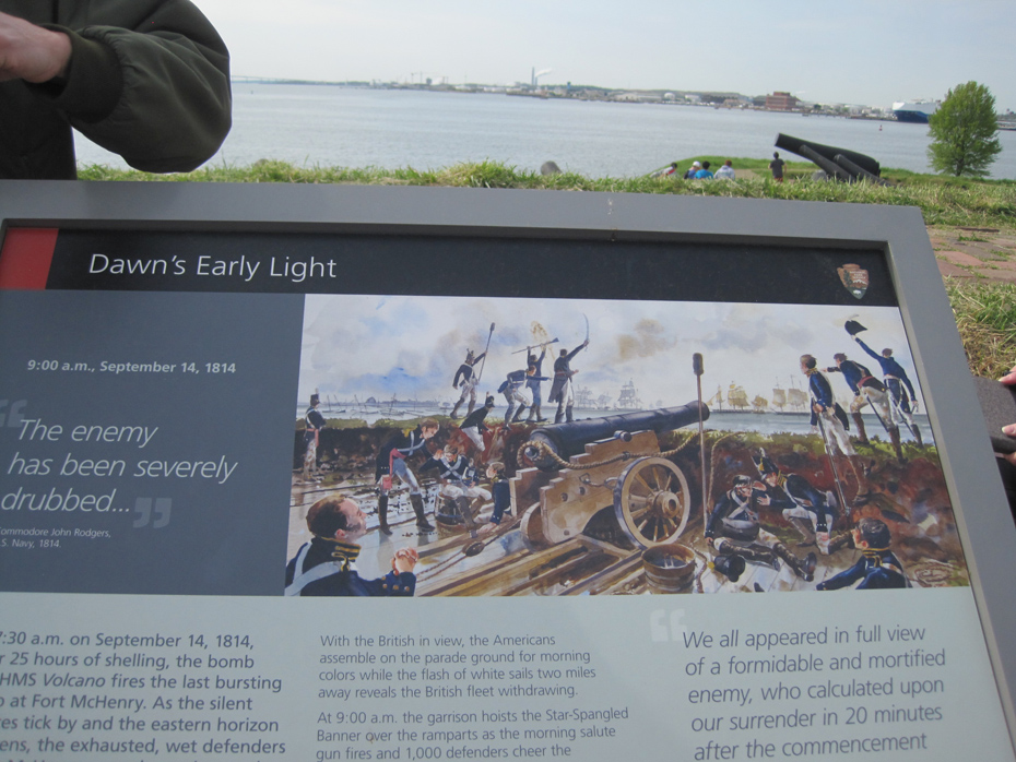 Signage at Fort McHenry overlooks the area where the Battle of Baltimore took place.