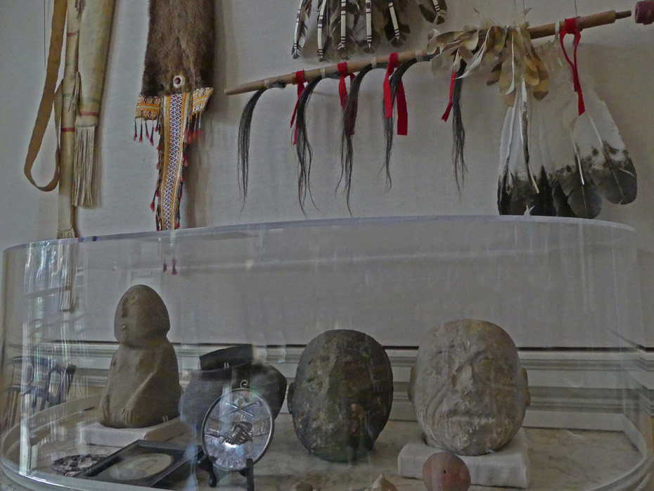 stone himages and native American artifacts at Monticello