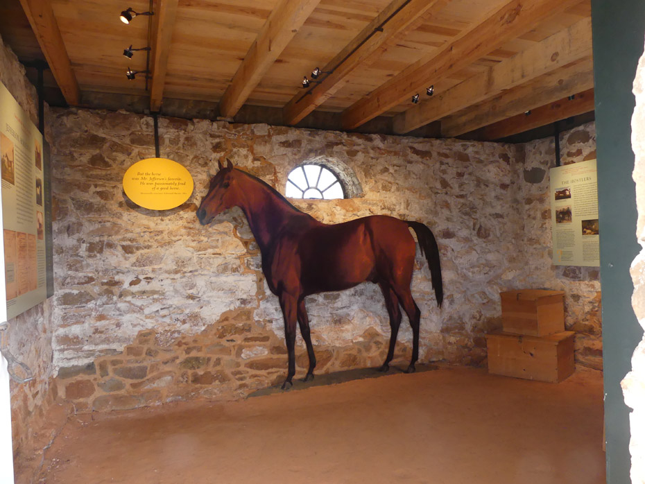 Interior of stable showing horse at Monticello