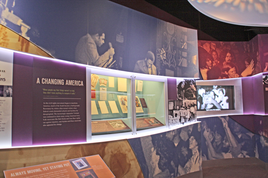 Changing American exhibit at the B. B. King Museum in Indianola, Mississippi