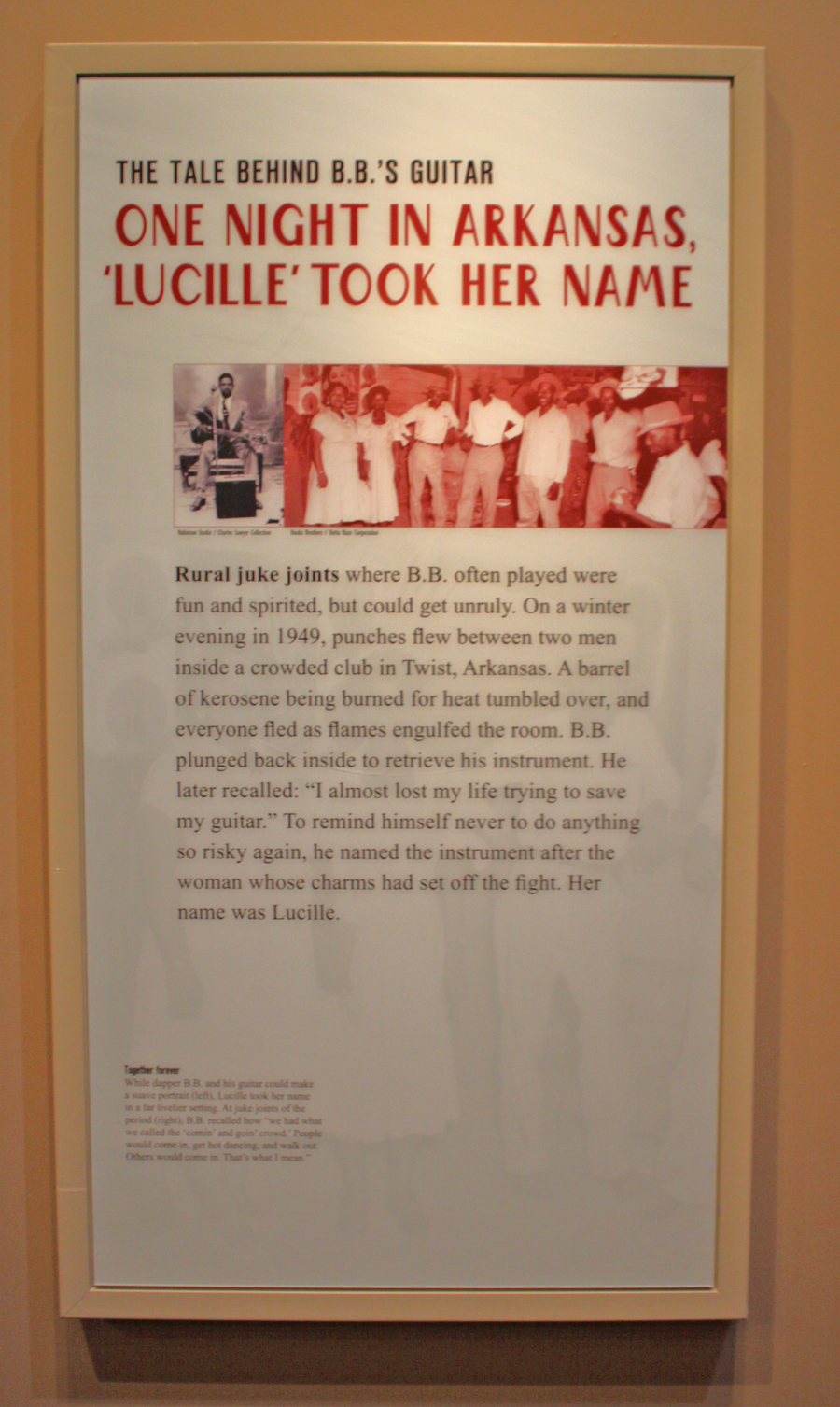 poster telling story of how Luiclle got her name at the B. B. King Museum in Indianola, Mississippi
