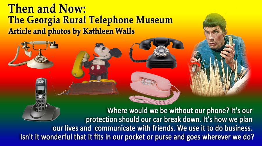 several antique phones and Leonard Nemoy as Mr. spok holding a cell phone