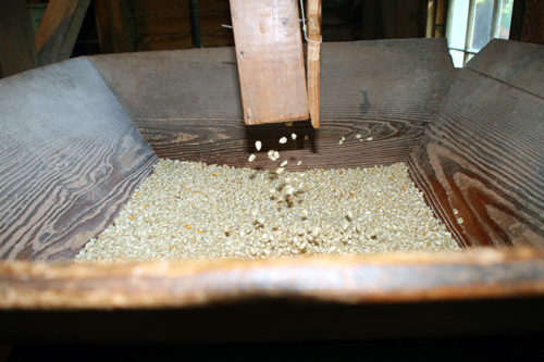 Milled grain falls throught the chute into collection bin at Nora Mill