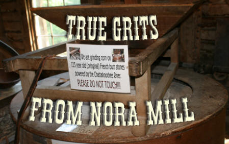 "hopper for the mill at Nora Mill with title ""True Grits From Nors Mill"" on it"