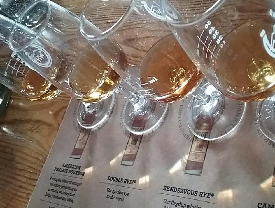 A flight of craft whiskey at HighWest Distillery.
