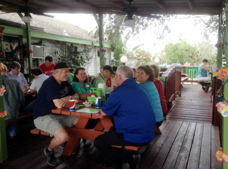 Group at Peace River Seafood in Punta Gorda, florida eating seafood.