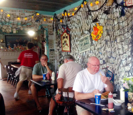 wall covered wiht dollar bills at Peace River Seafood in Punta Gorda, Florida
