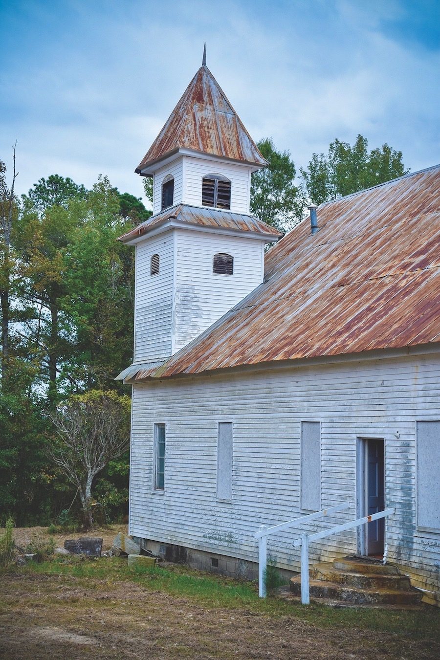 old country church with tin roof