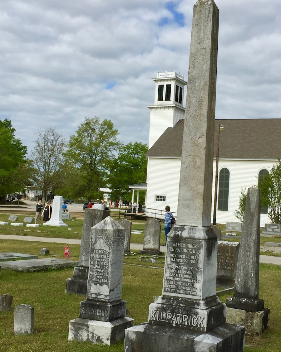 Cemetary with White Plains Baptist church in background