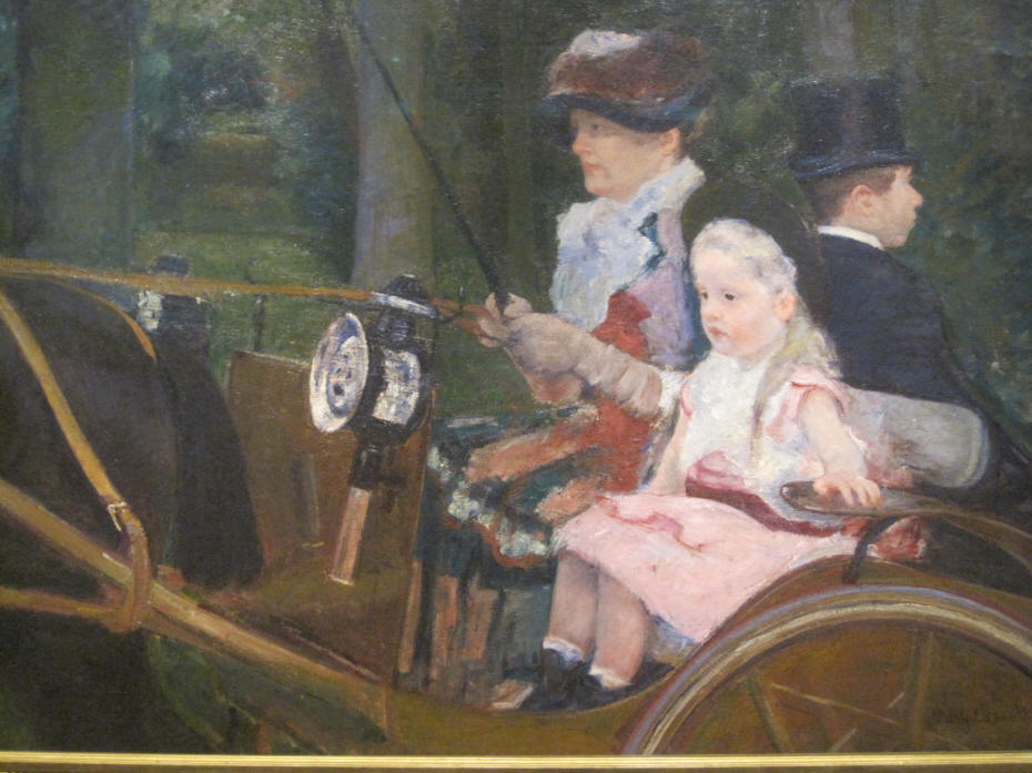 Painting of Woman and Girl Driving by Mary Cassatt