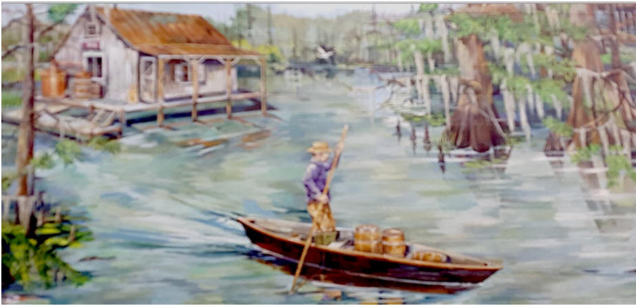 Bayou Rum mural of cajun paddling pirogue to cabin