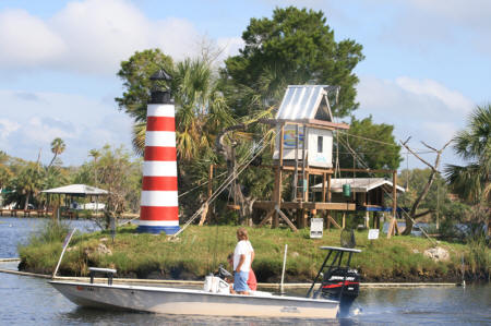 View of Monkey Island from Riverside Crab House in Homosassa, Florida