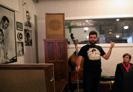 Guide explaingn exhibits  at Sun Studio in Mamphis Tennessee.