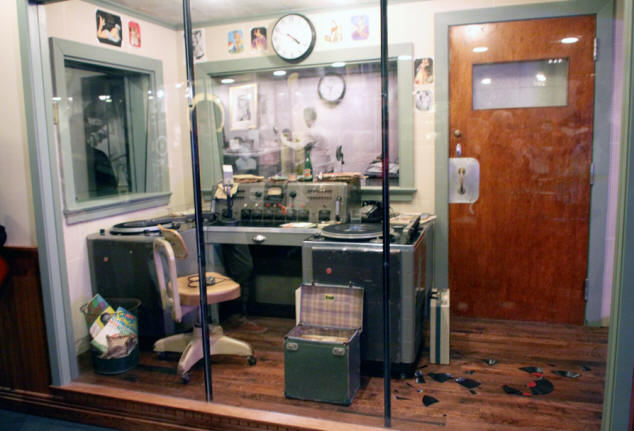 WHBQ radio station booth where Dewey Philips first played Elvis's record. at Sun Studio in Memphis Tennessee