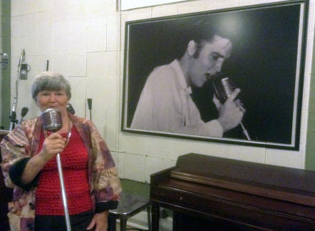 Author singing on smae mike Elcis used at Sun Studio in Mamphis Tennessee.
