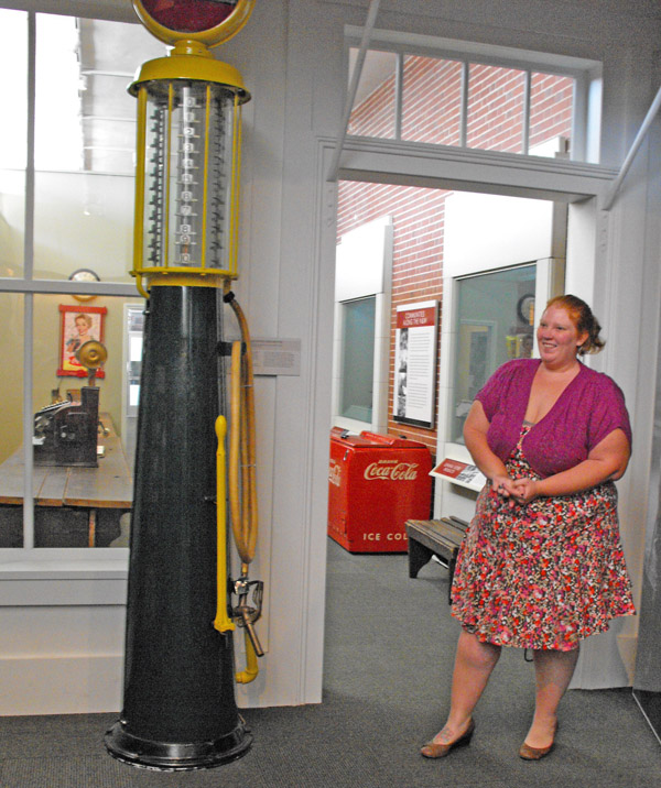 antique gravity gas pump at O. Winston Link Museum in Roanoke, Virginia