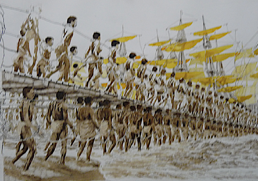 Africans being led aboard slave ships