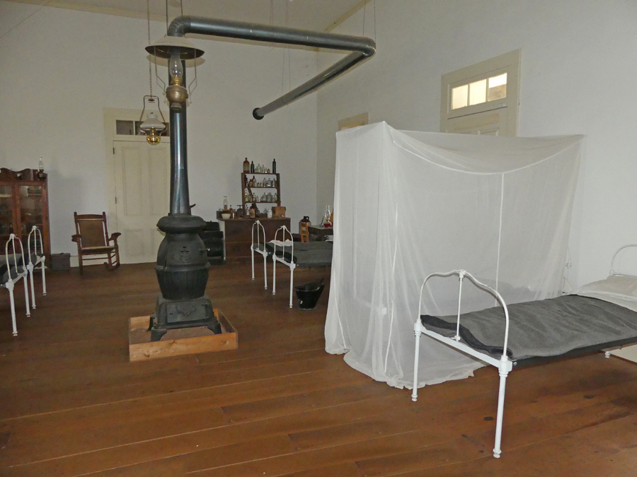 Hospital at Fort Concho with cots,