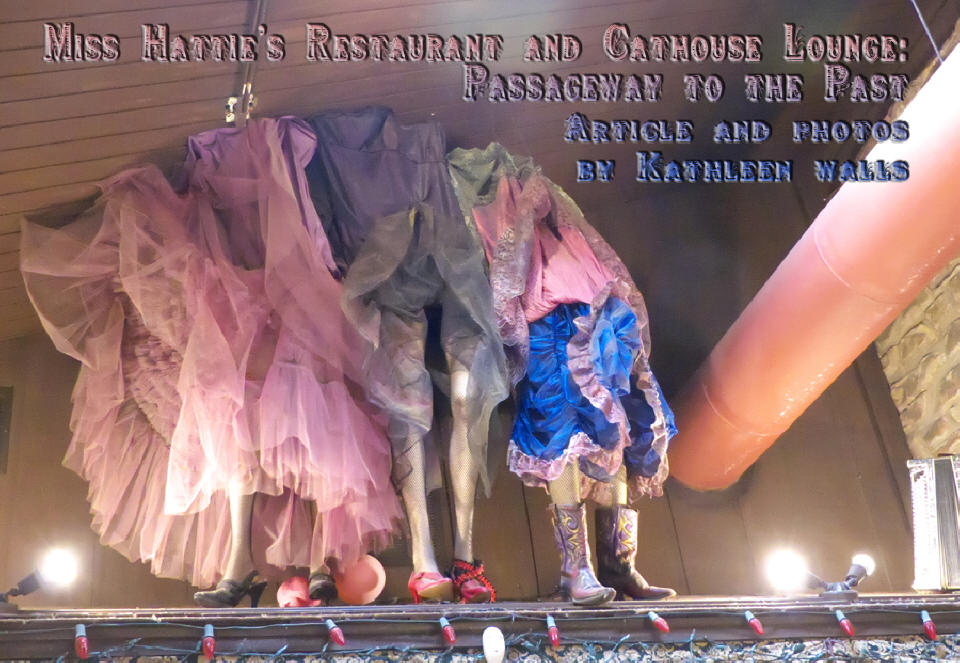 <h1>Miss Hattie's Restaurant and Cathouse Lounge</h1> header picture showing clothing of the ladies.