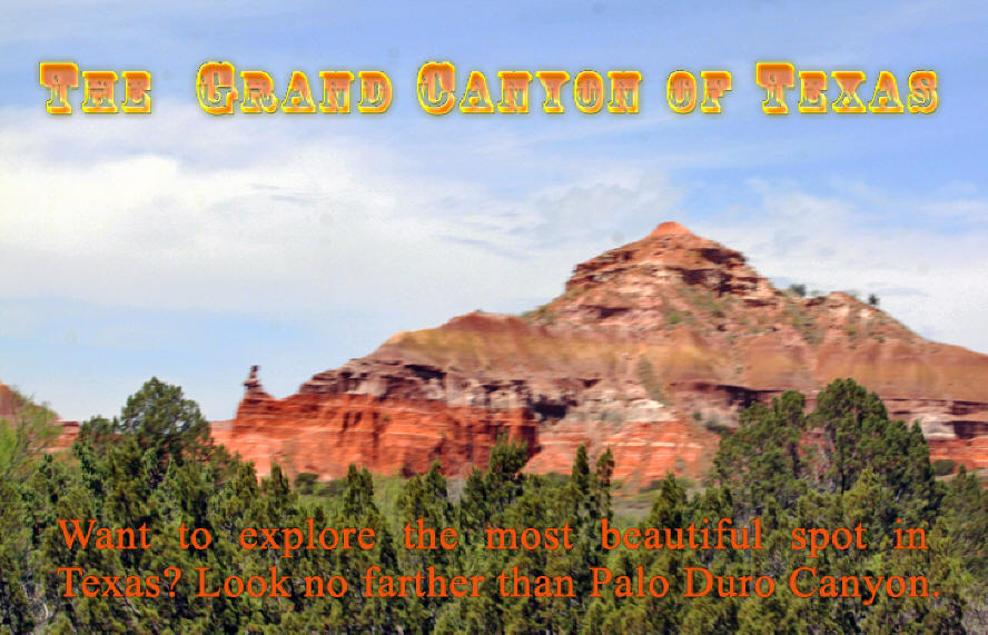 Header for Palo duro Canyon near Amarillo, Texas showing canyone walls and trees