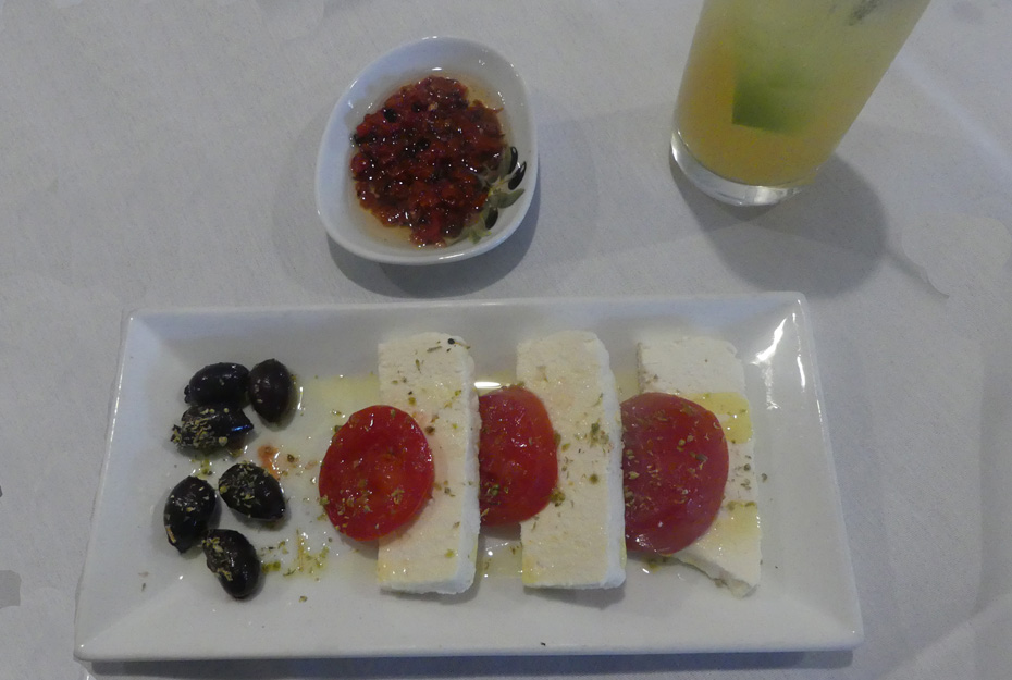 mozzarella cheese, tomatoes  and black olives