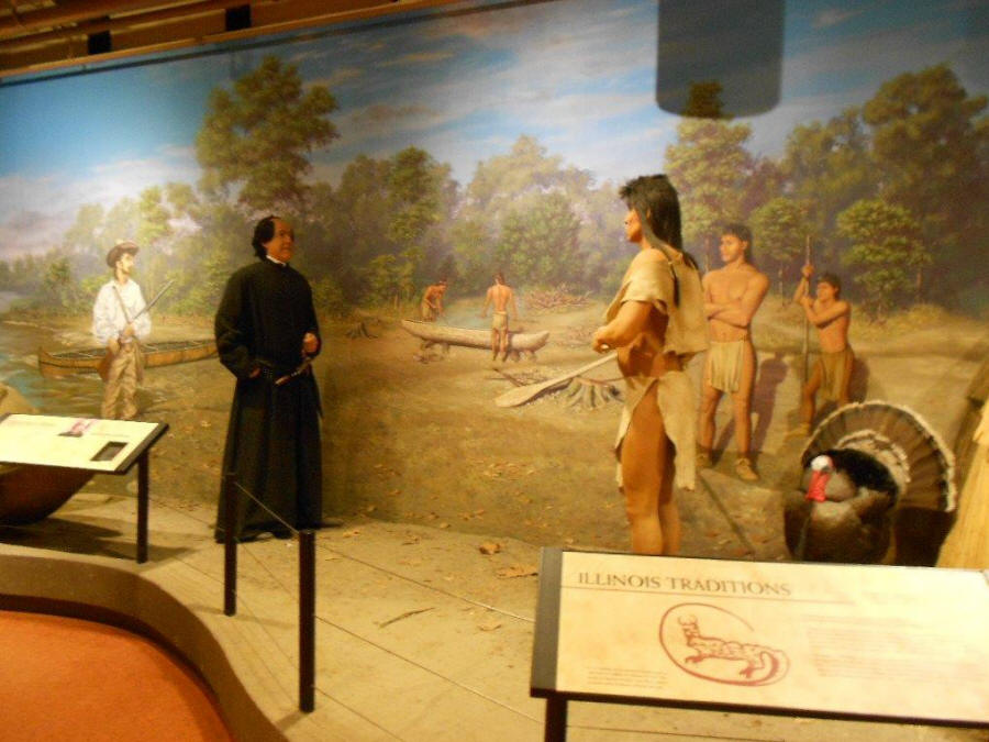 Father Marquette meeting the Illinois exhibit at museum