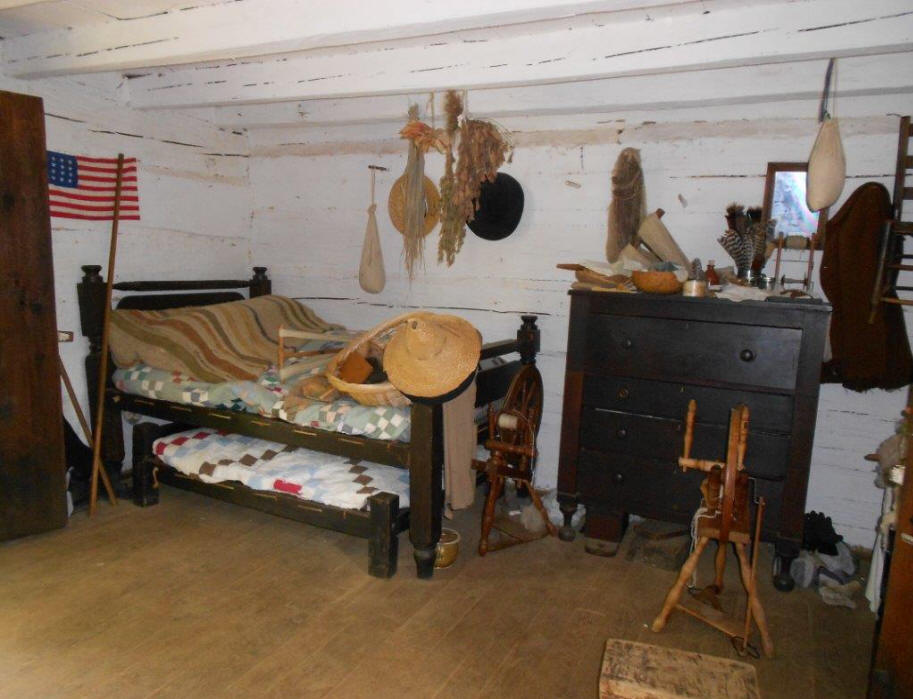 interior of cabin at Lincoln Pioneer Village and Museum at Little Pigeon Creek in Spencer County