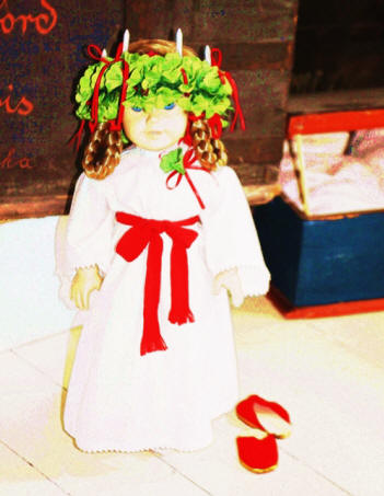Swedish doll in the folk art collection in Erlander House Museum  in Rockford, Illinois