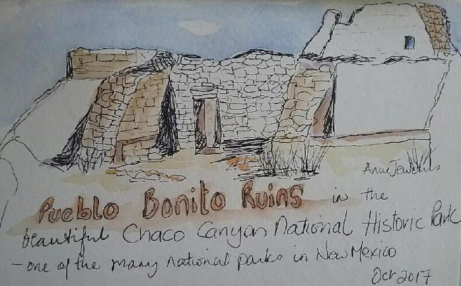 sketch of a section of the Pueblo Bonito in the Choco Canyon National park