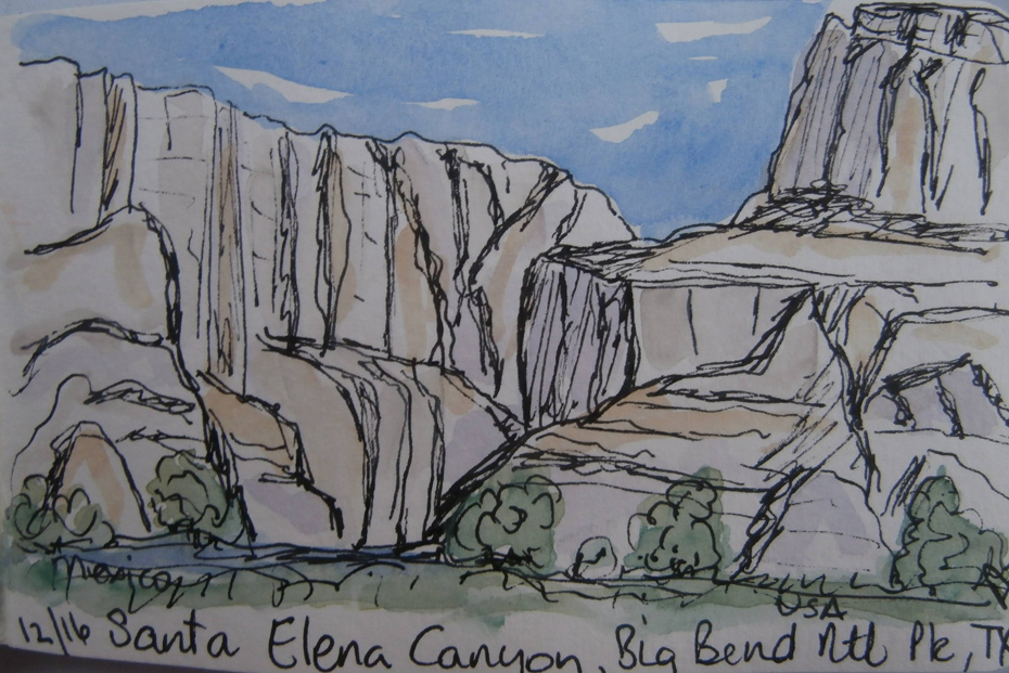 Sketch of Santa Elena Canyon in Big Bend National Park, Texas.