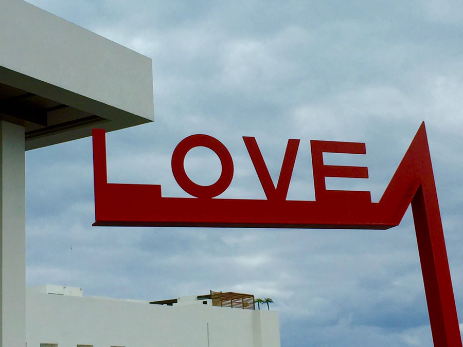 Red love sign art Finest Resort in Playa Mujeres