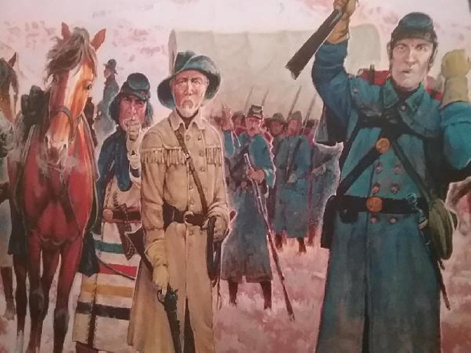 A scout and tracker depicted in the military mural by artist Mike Scovel.