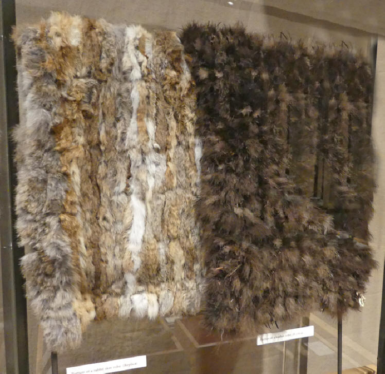 rabbit skin and a turkey feather blankets at anasizi Hertiage center