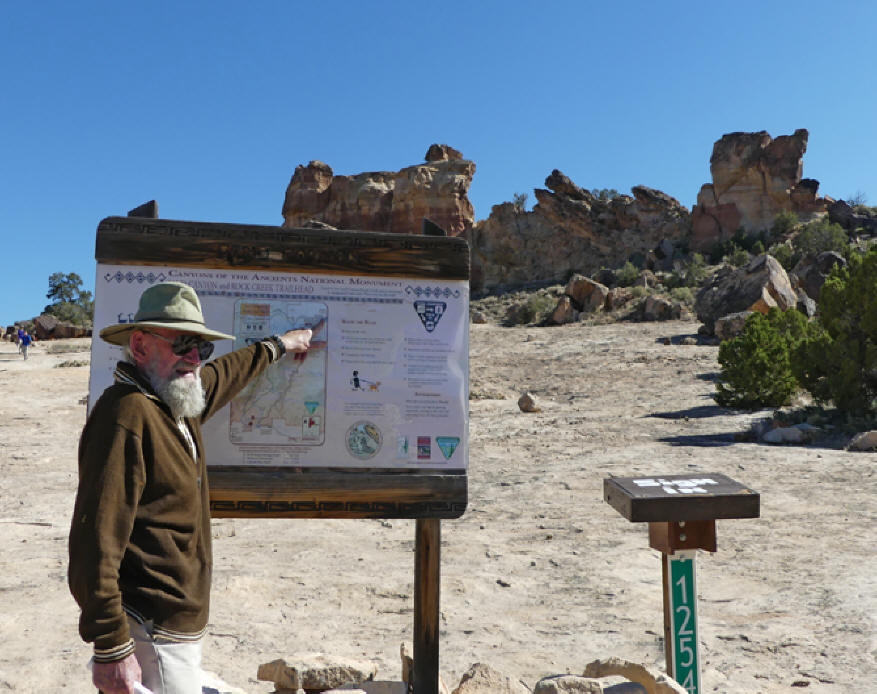 Probable ruins site near Castle Rock on sign at Castle Rock Trailhead