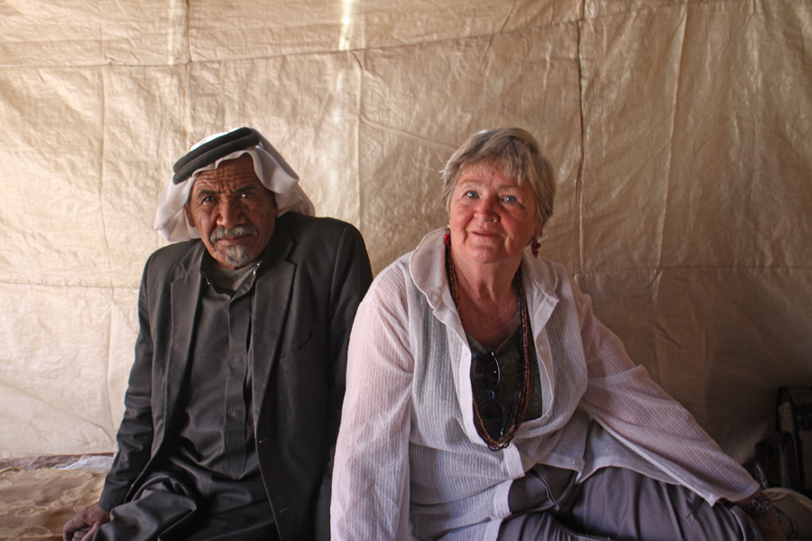Elder and author in Bedouin tent
