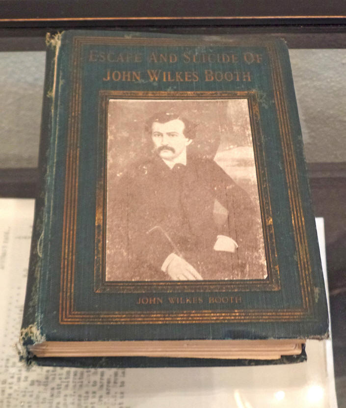 book showing John Wilkes Booth on display in granbury, Texas