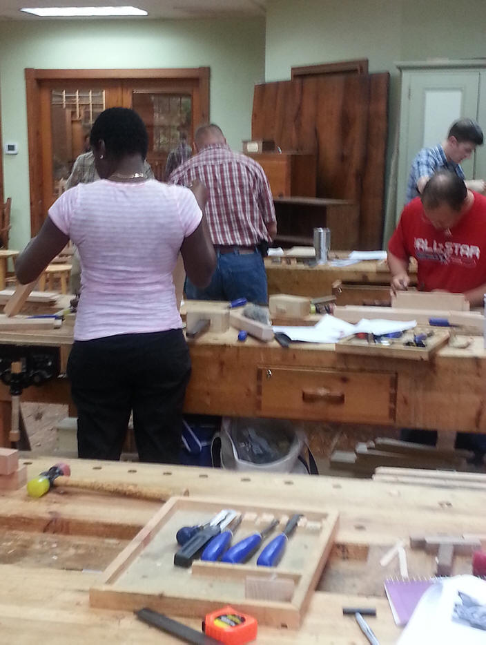 students in carpentry class at Homestead Heritage in Waco Texas