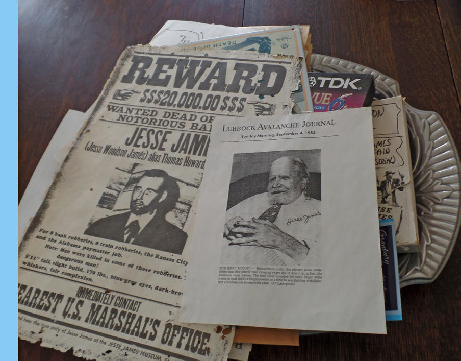 Jesse James wanted posters in Granbury, Texas