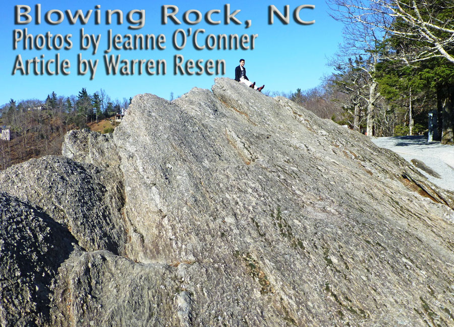 Blowing rock with persoin perched on top used as title image