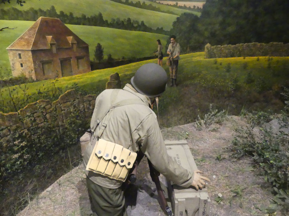 xhibit shows a trooper in Jedburgh Operations meeting resistance fighters in France