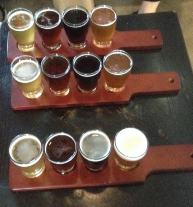 beer samples at Devil's Canyon Brewing in San Carlo