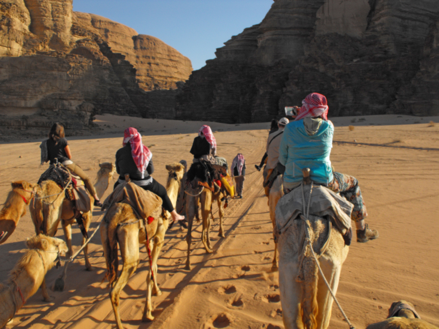 Visitors in a camel caravan in Wadi Rum