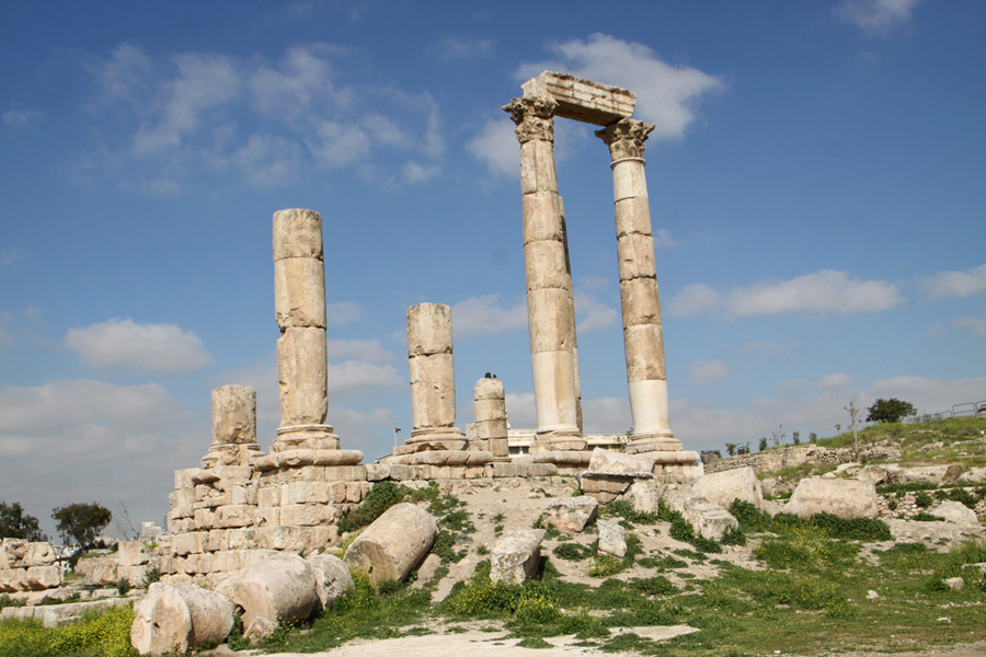 The Temple of Hercules at The Citadel in Amman. Jordan